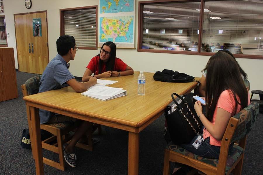 Students working on homework.