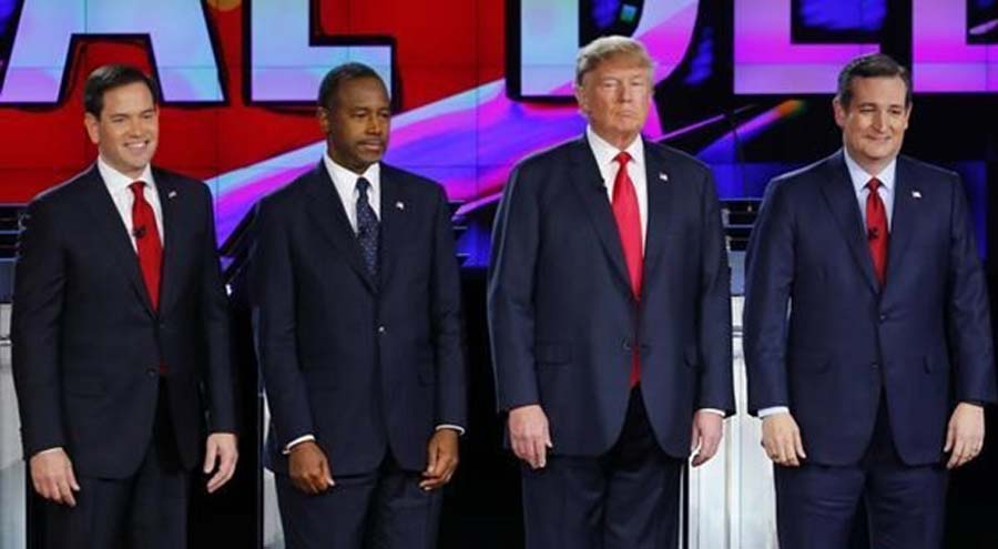 Republican+U.S.+presidential+candidates+%28L-R%29+Senator+Marco+Rubio%2C+Dr.+Ben+Carson%2C+businessman+Donald+Trump%2C+and++Senator+Ted+Cruz+before+the+start+of+the+presidential+debate+in+Las+Vegas%2C+Nevada+Dec.+15%2C+2015.