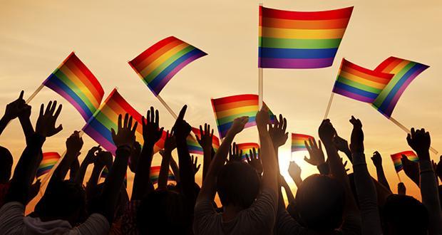 Group of People Waving Gay Pride Symbol Flags