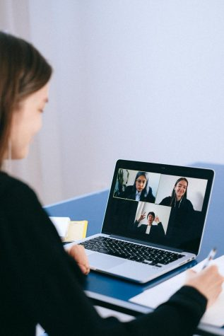 Online meeting of students.