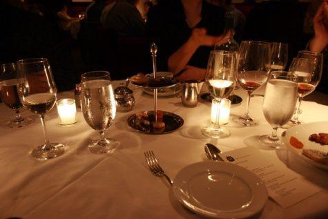 Fancy dinner in a slightly lit room