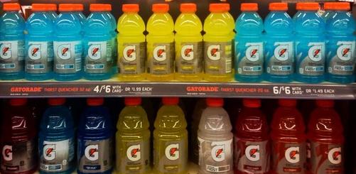Bottles of Gatorade on a shelf
