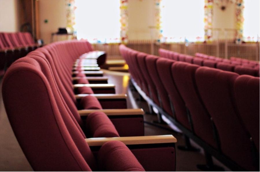 A row of empty Movie Theatre seats