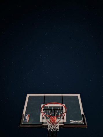 Image of basketball backboard and hoop.