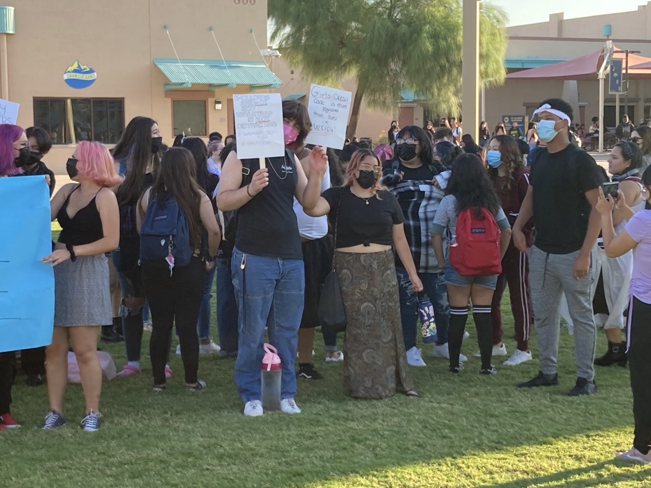 Group of High Schoolers Holding Multiple Feminism Signs in Protest